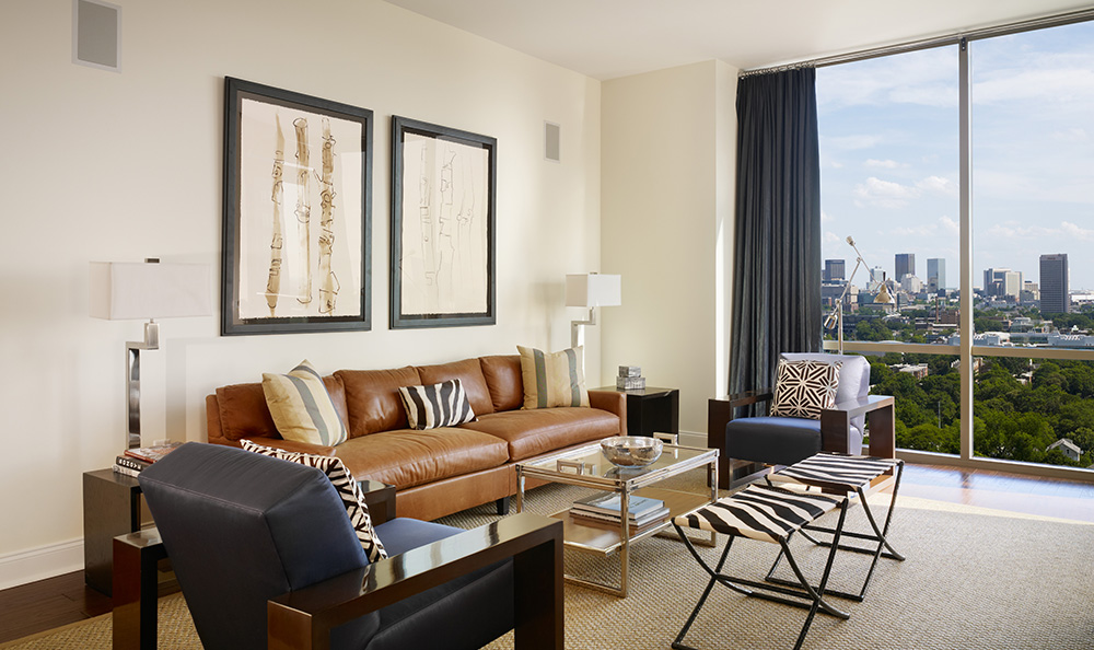 Living room with natural lighting at luxury apartments in atlanta georgia